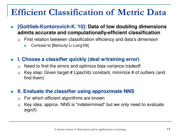 Efficient Classification of Metric Data