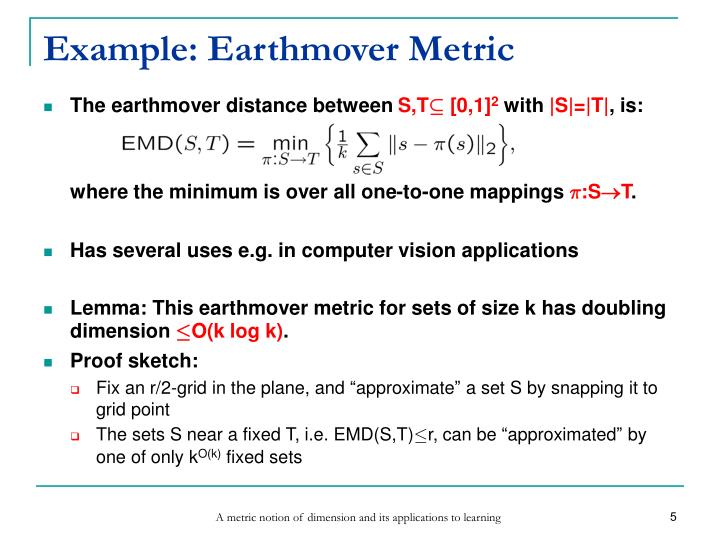 Example: Earthmover Metric