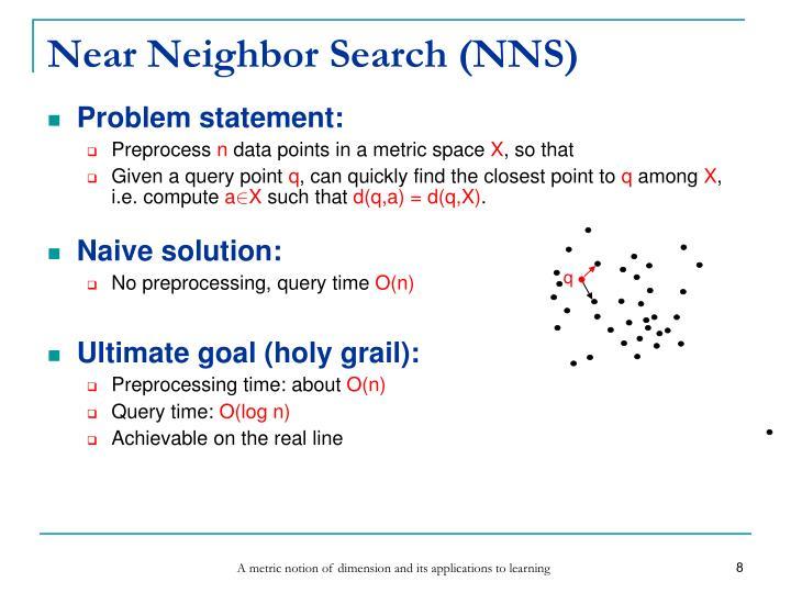 Near Neighbor Search (NNS)