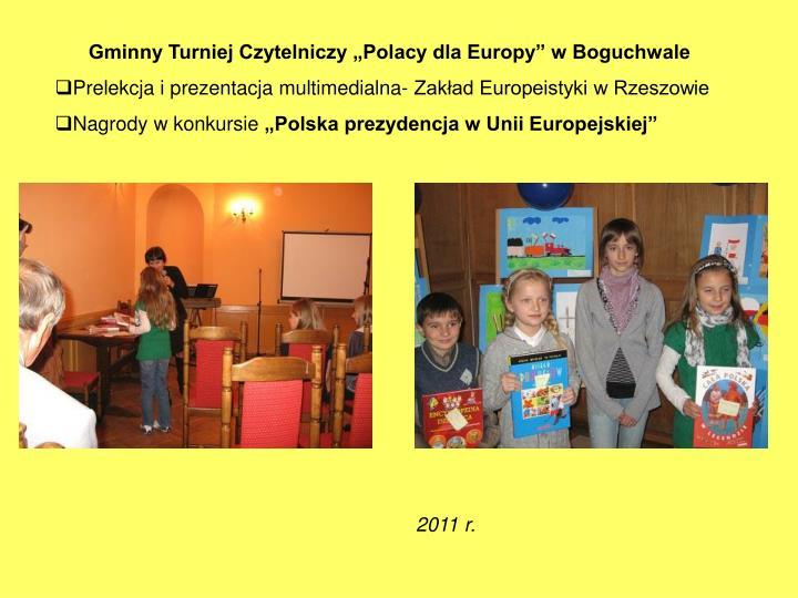 """Gminny Turniej Czytelniczy """"Polacy dla Europy"""" w Boguchwale"""