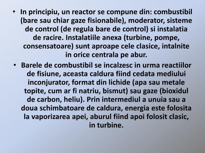 In principiu, un reactor se compune din: combustibil (bare sau chiar gaze fisionabile), moderator, sisteme de control (de regula bare de control) si instalatia de racire. Instalatiile anexa (turbine, pompe, consensatoare) sunt aproape cele clasice, intalnite in orice centrala pe abur.
