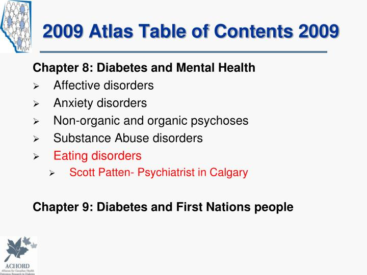 2009 Atlas Table of Contents 2009