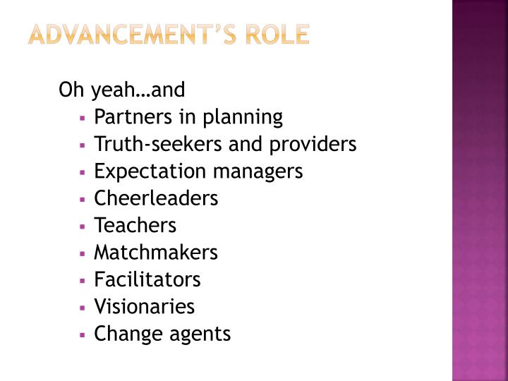 Advancement's role