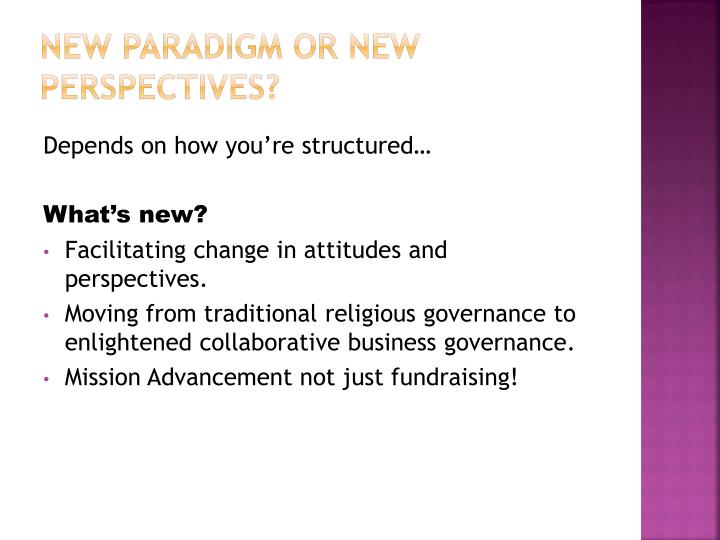 New Paradigm or New Perspectives?
