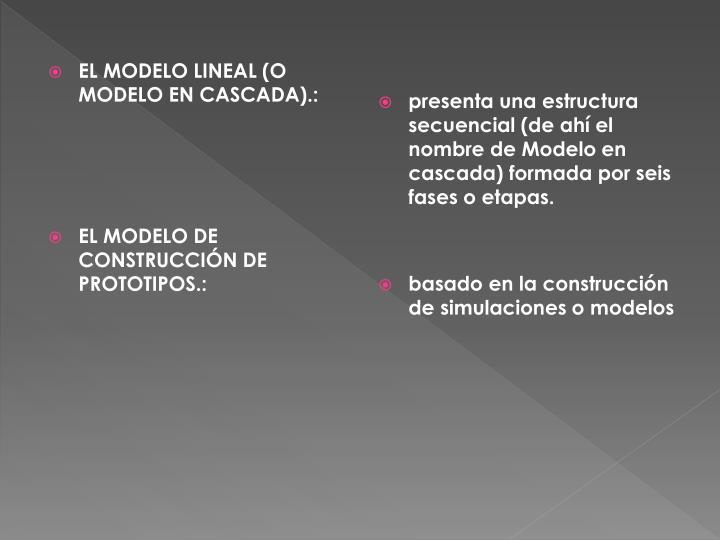 EL MODELO LINEAL (O MODELO EN CASCADA).: