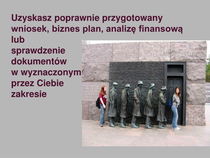 Uzyskasz poprawnie przygotowany wniosek, biznes plan, analizę finansową