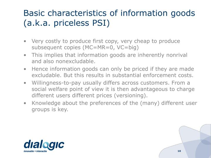 Basic characteristics of information goods