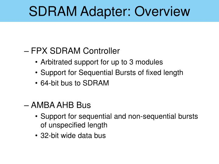 SDRAM Adapter: Overview
