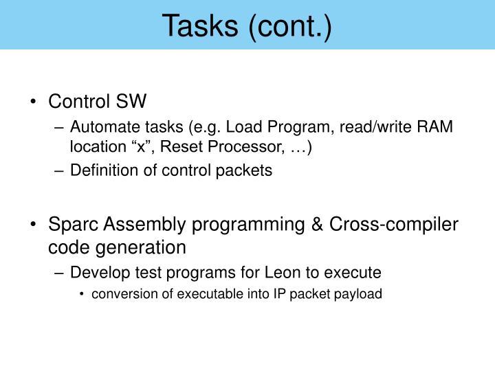 Tasks (cont.)