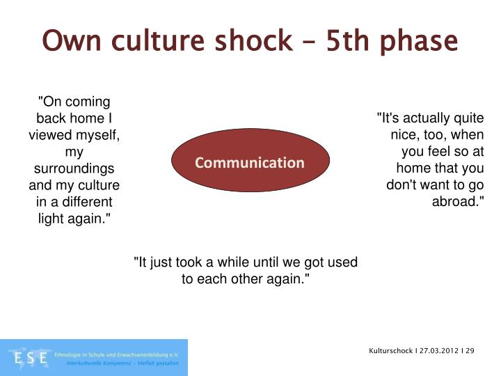 Own culture shock – 5th phase