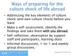 ways of preparing for the culture shock of life abroad