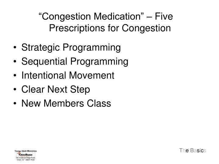 """Congestion Medication"" – Five Prescriptions for Congestion"