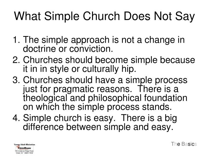 What Simple Church Does Not Say