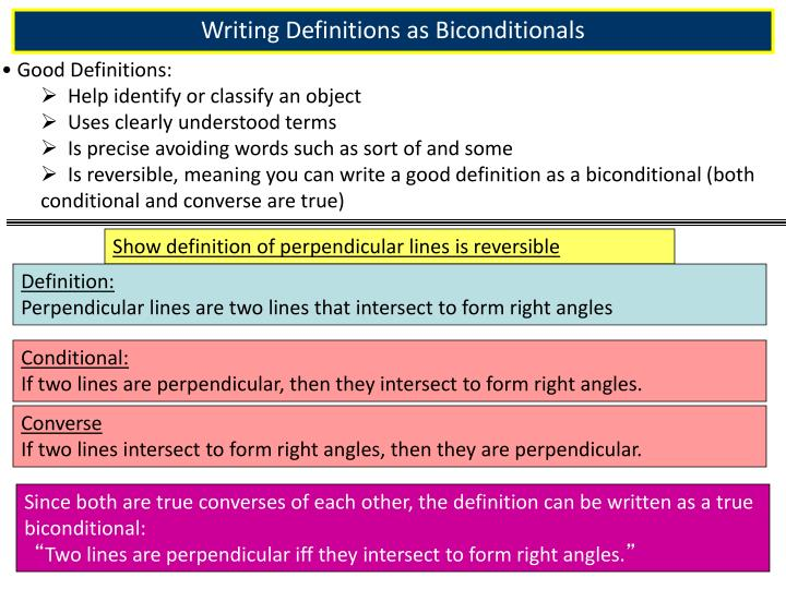 Writing Definitions as Biconditionals