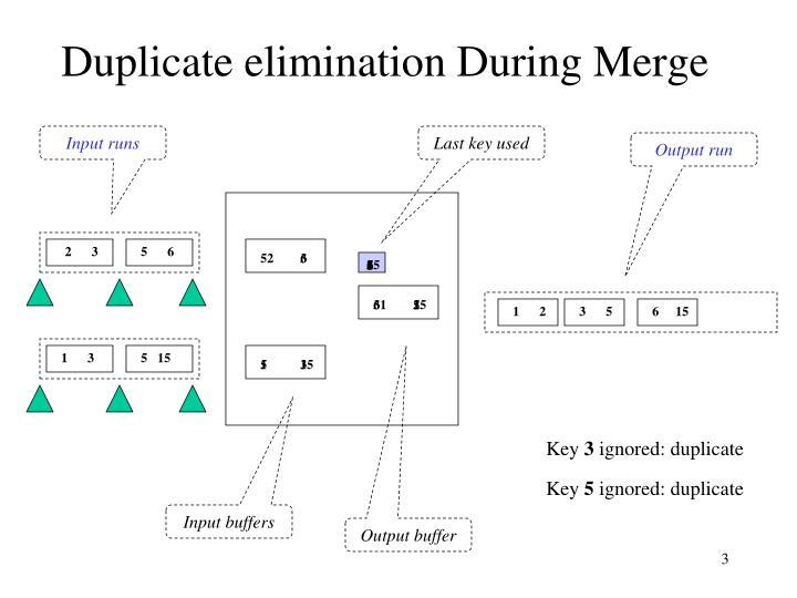 Duplicate elimination During Merge