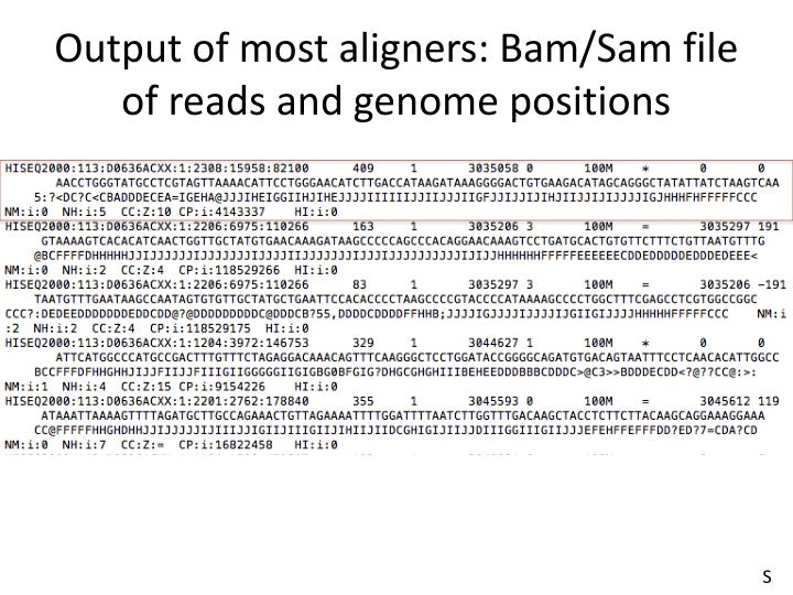 Output of most aligners: Bam/Sam file of reads and genome positions