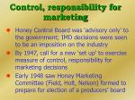 control responsibility for marketing