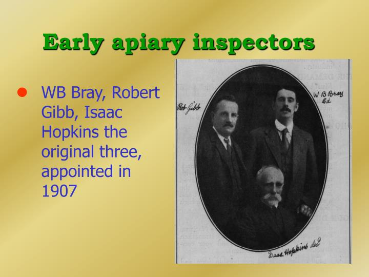 Early apiary inspectors