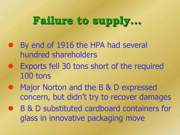 Failure to supply...