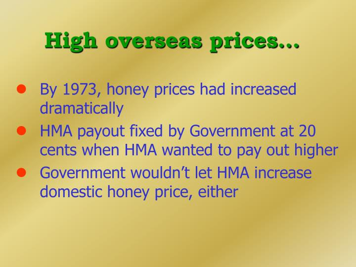 High overseas prices...