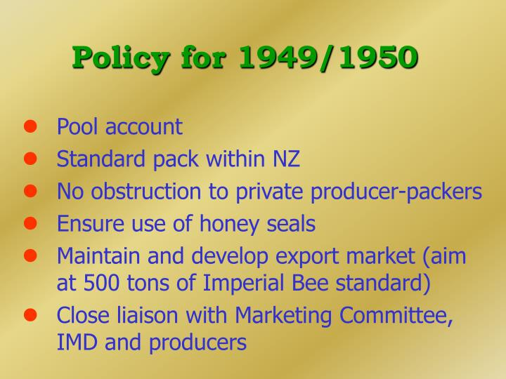 Policy for 1949/1950