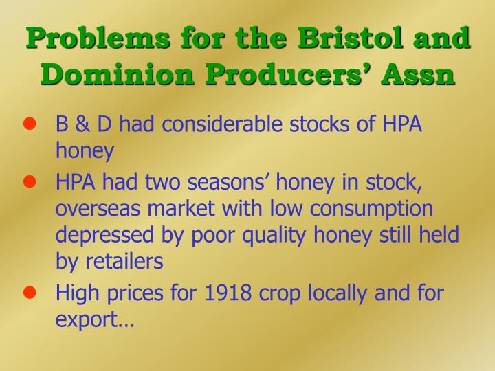 Problems for the Bristol and Dominion Producers' Assn