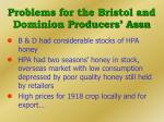 problems for the bristol and dominion producers assn