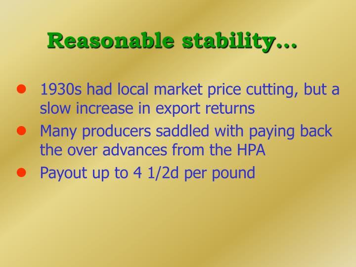 Reasonable stability...