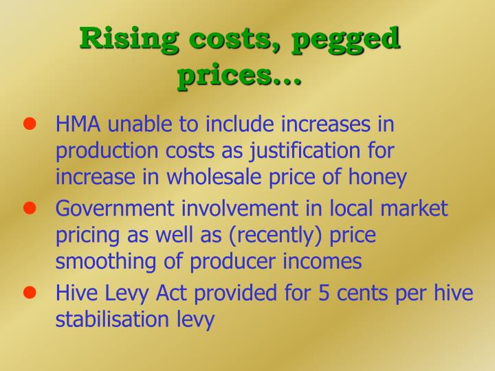 Rising costs, pegged prices...