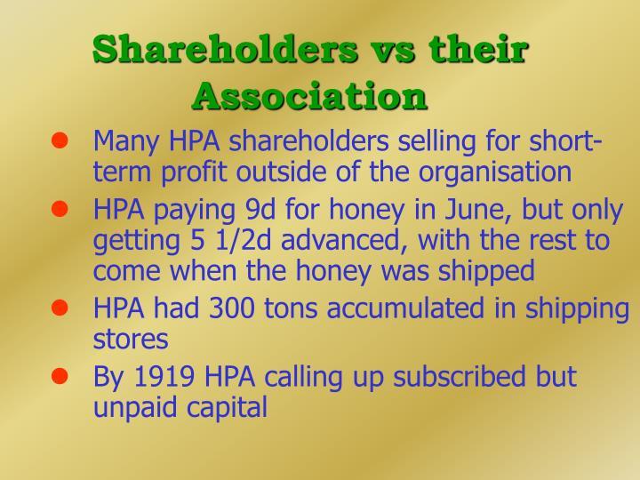 Shareholders vs their Association