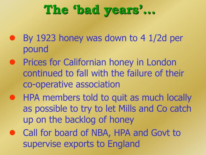The 'bad years'...