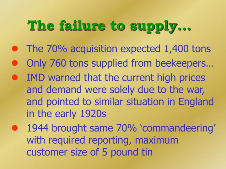 The failure to supply...
