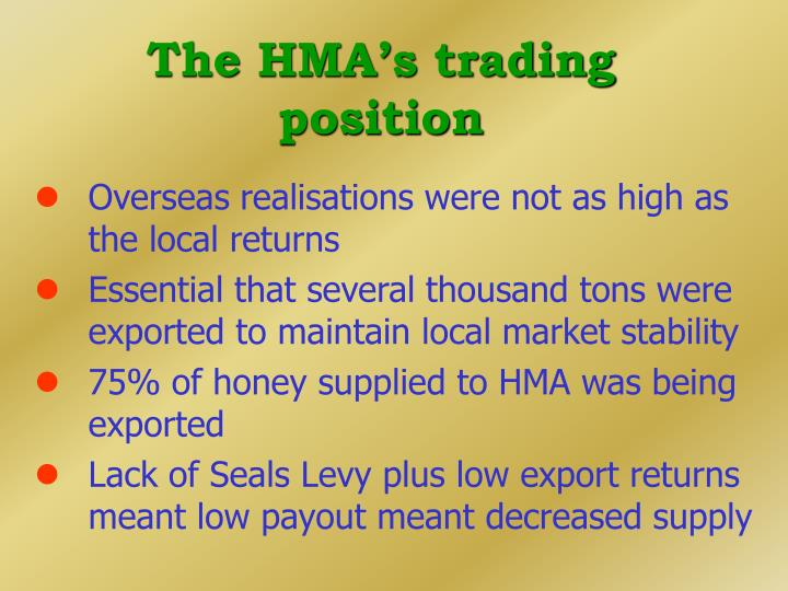 The HMA's trading position