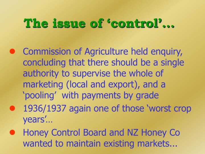 The issue of 'control'...