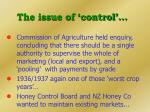 the issue of control