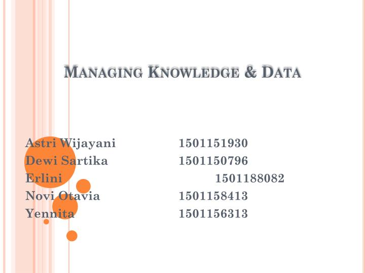 Managing knowledge data