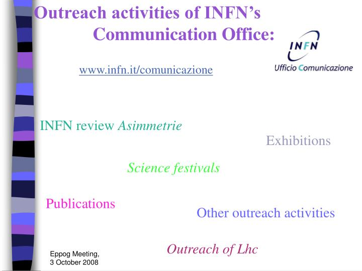 Outreach activities of INFN's