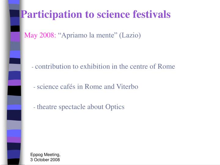 Participation to science festivals