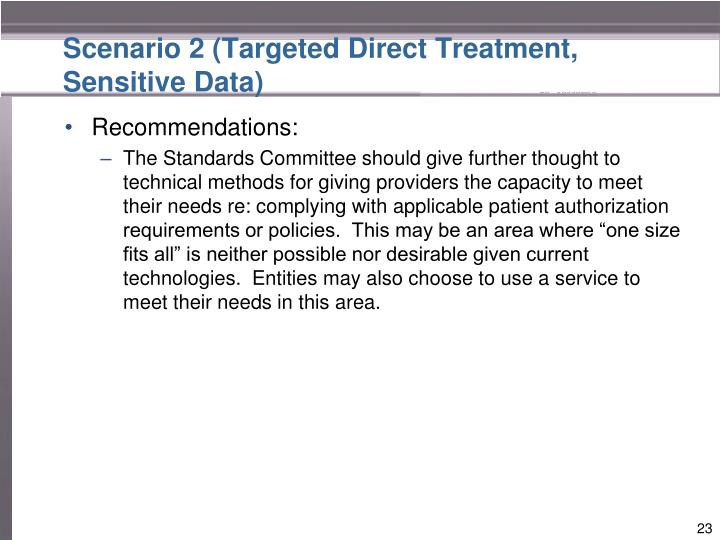 Scenario 2 (Targeted Direct Treatment, Sensitive Data)