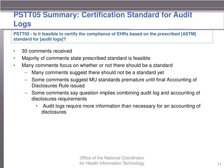 PSTT05 Summary: Certification Standard for Audit Logs