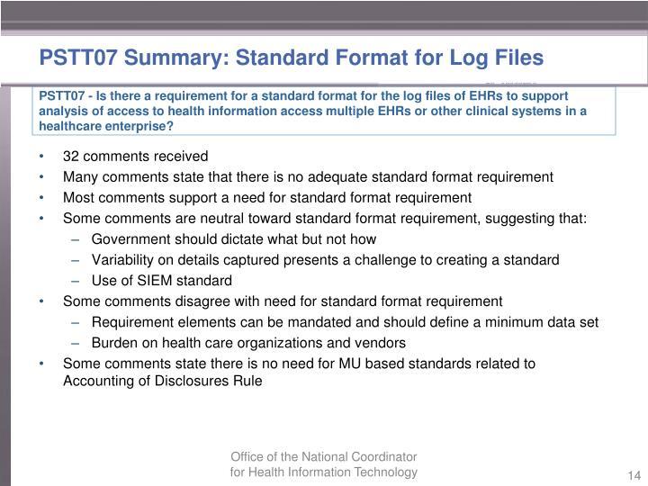 PSTT07 Summary: Standard Format