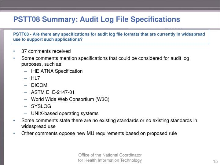 PSTT08 Summary: Audit Log
