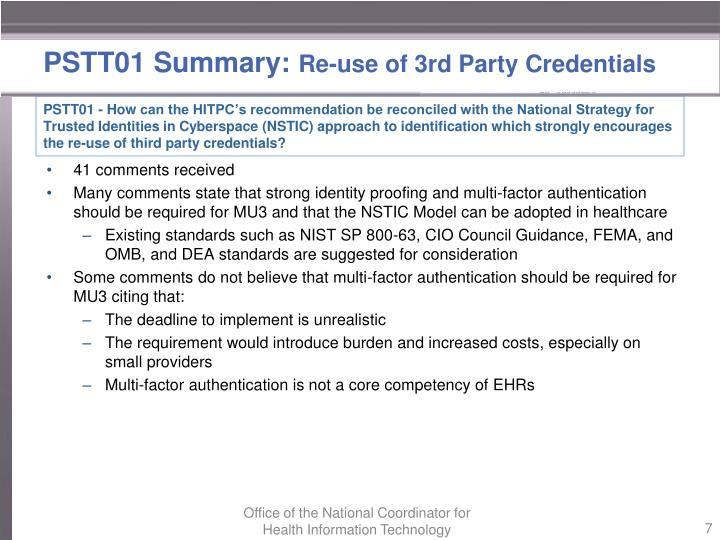 PSTT01 Summary: