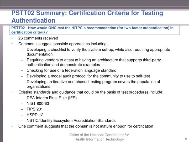 PSTT02 Summary: Certification