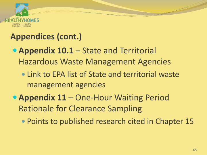 Appendices (cont.)
