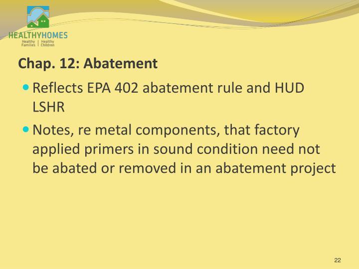 Chap. 12: Abatement