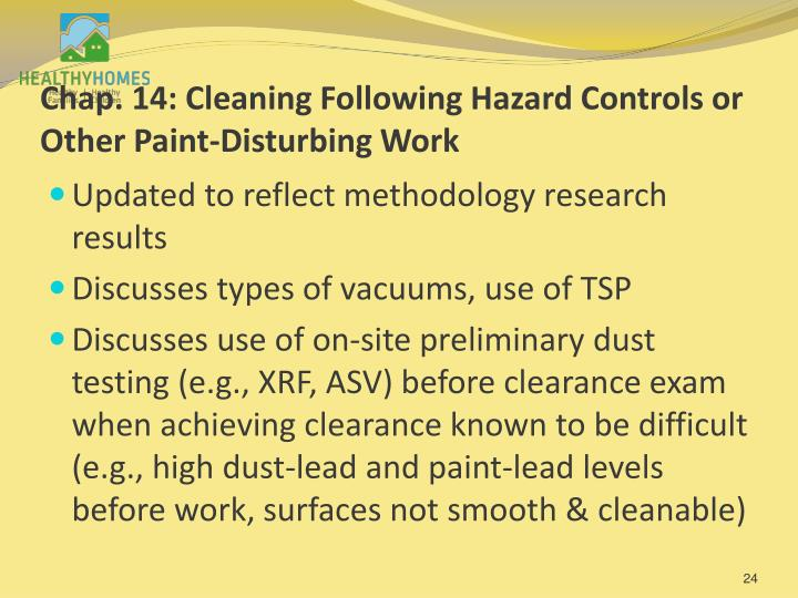 Chap. 14: Cleaning Following Hazard Controls or Other Paint-Disturbing Work