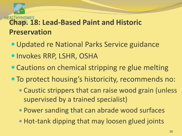 Chap. 18: Lead-Based Paint and Historic Preservation