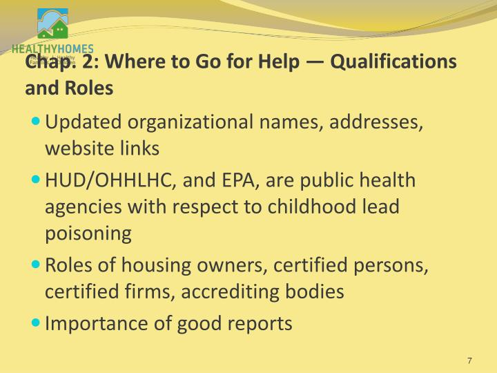 Chap. 2: Where to Go for Help — Qualifications and Roles