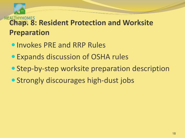 Chap. 8: Resident Protection and Worksite Preparation